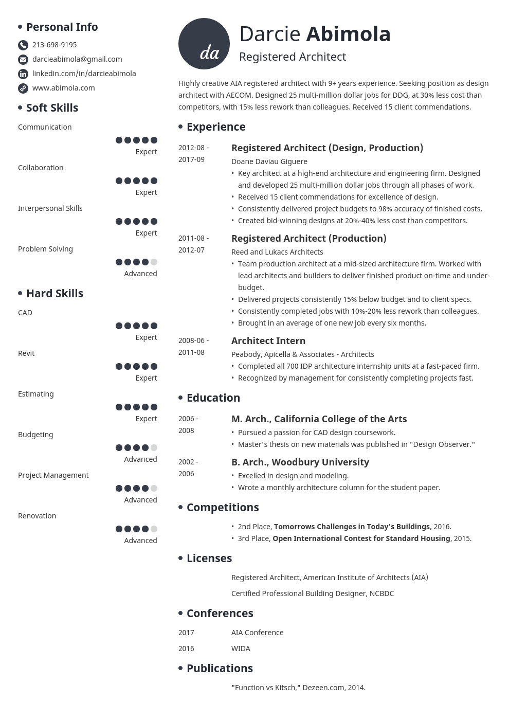 architecture resume example template initials