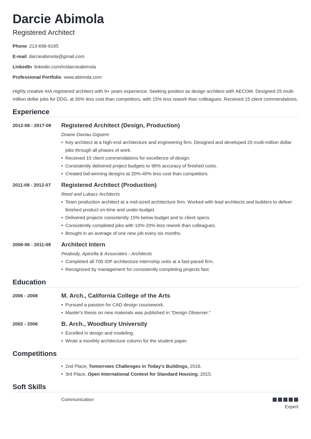 architecture resume example template nanica