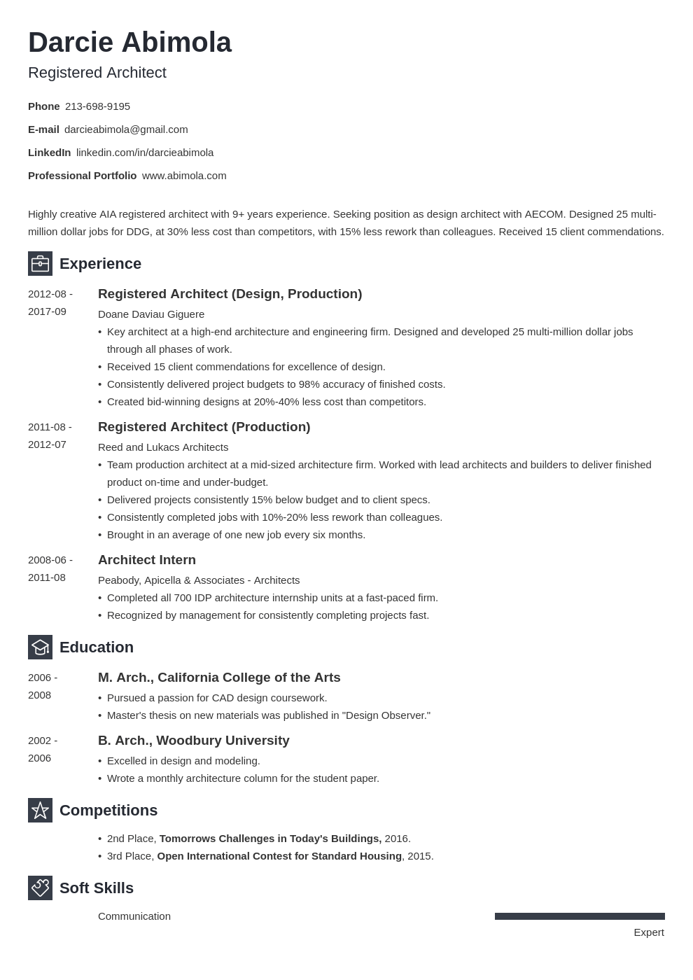 Architecture Resume Example For An Architect 2020 Template