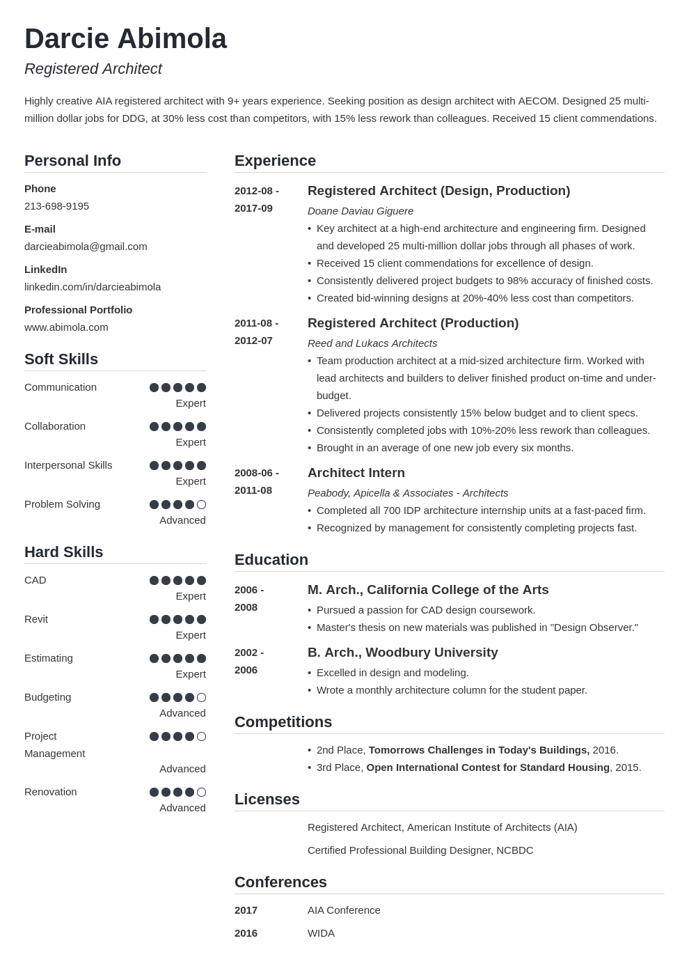 architecture resume example template simple