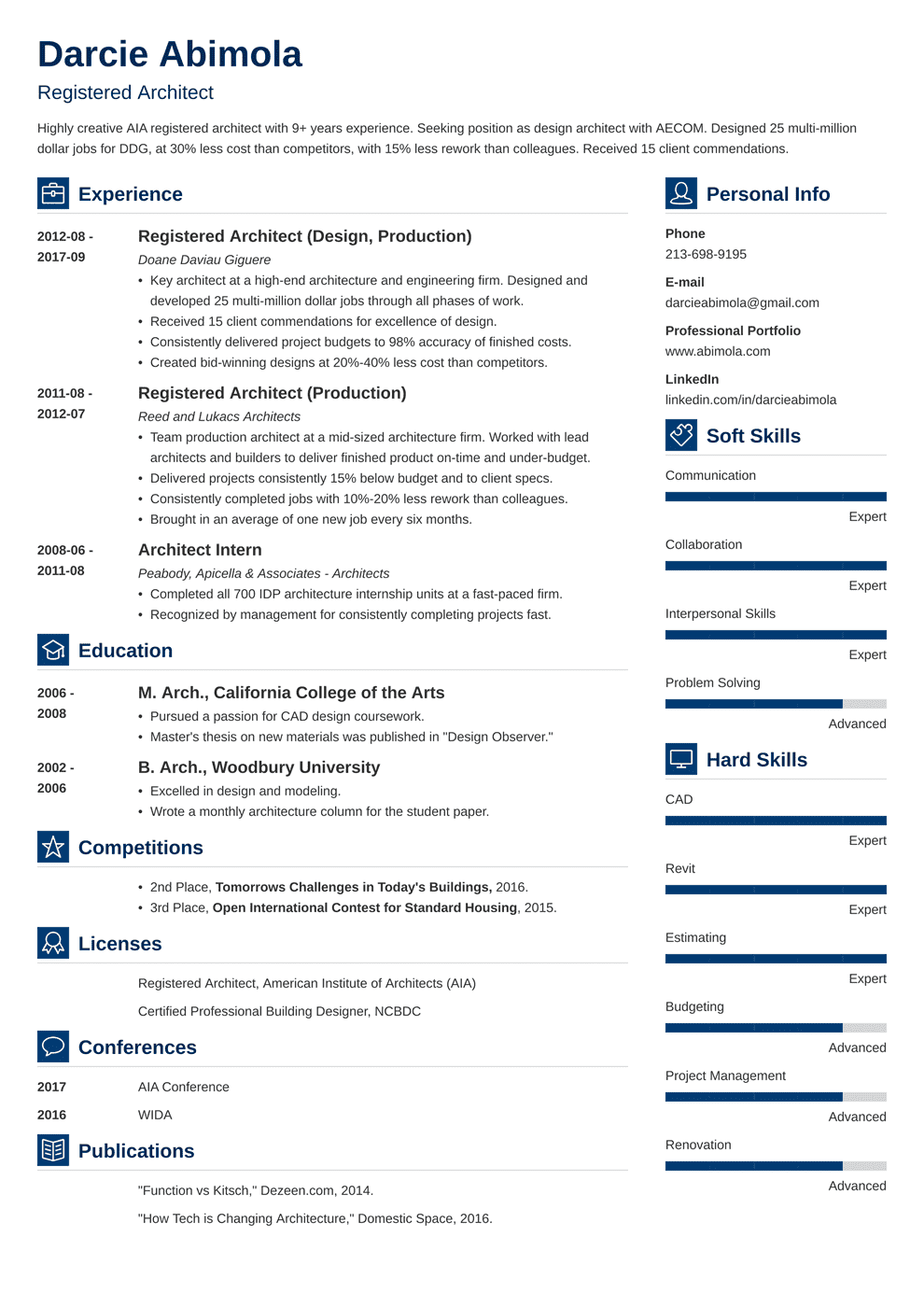 architecture resume example for an architect 2021 template