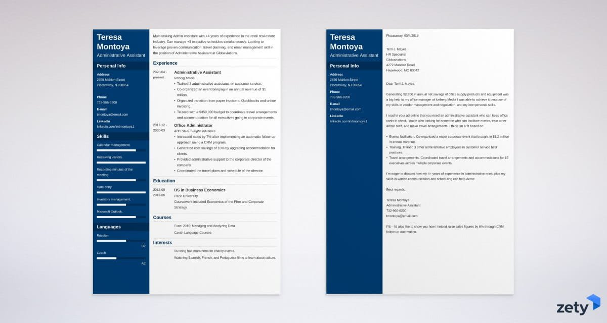 Matching cover letter and resume templates