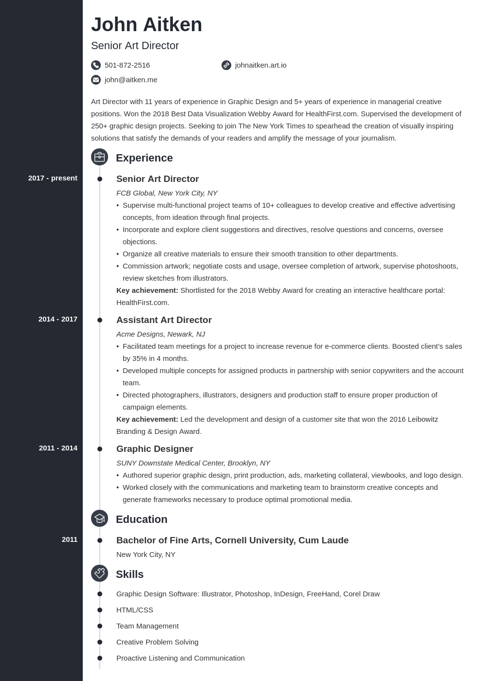 art director resume template concept
