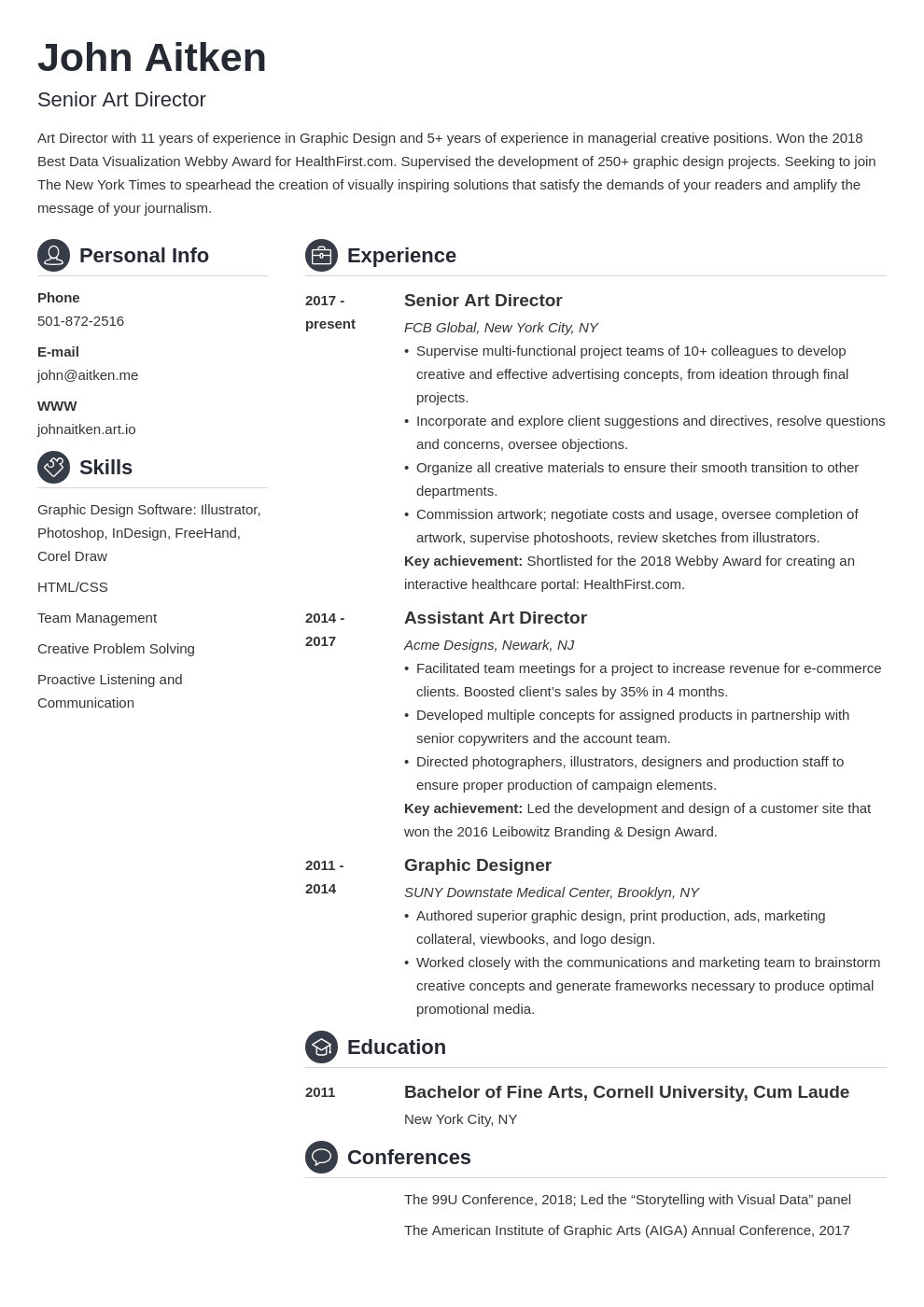 art director resume template crisp