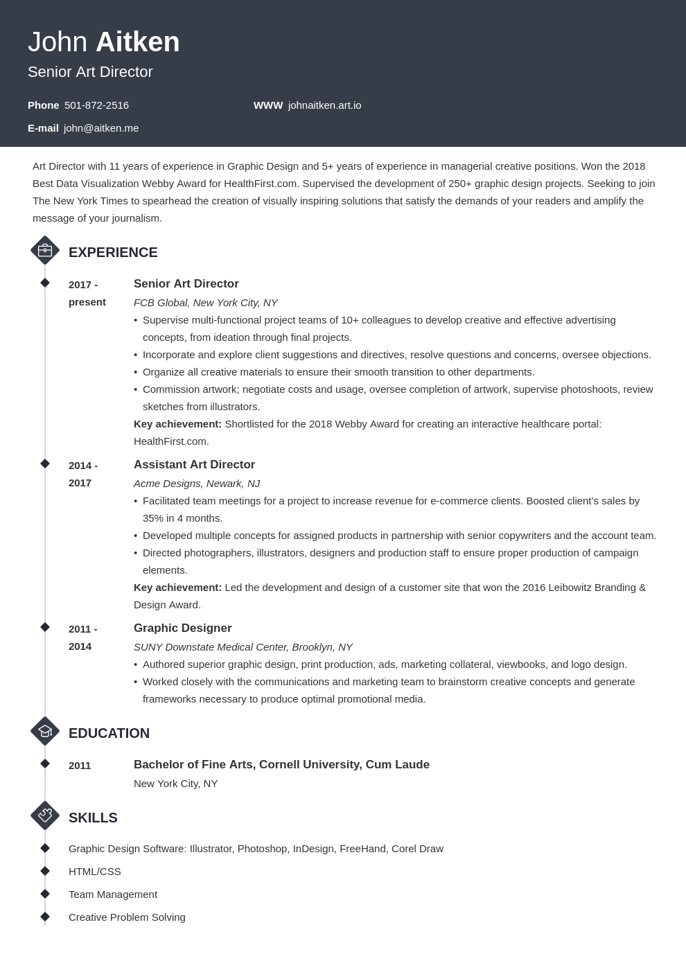 art director resume template diamond