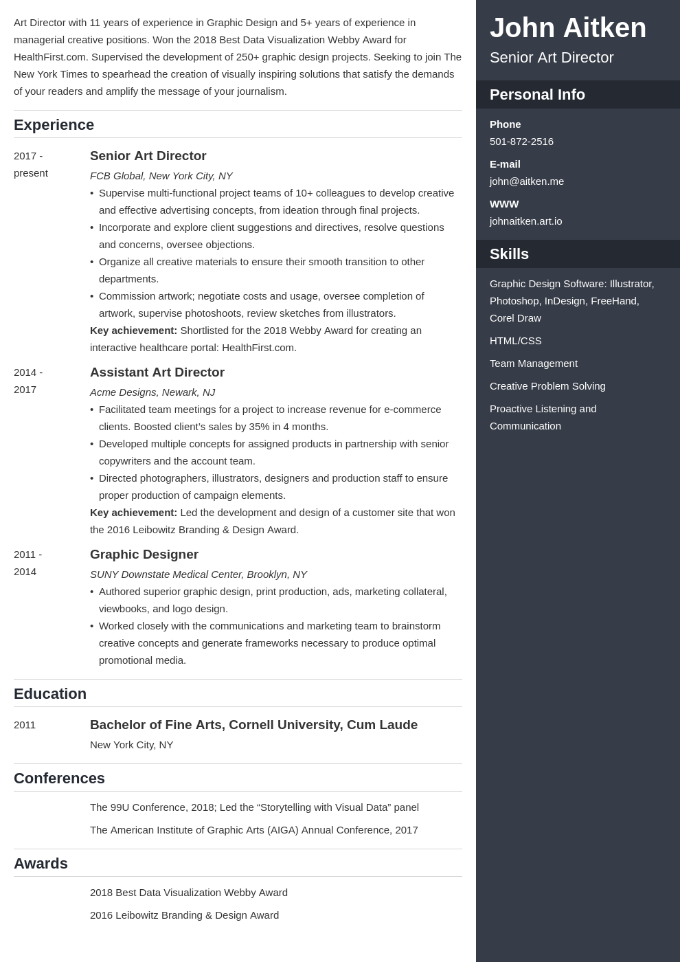 art director resume template enfold