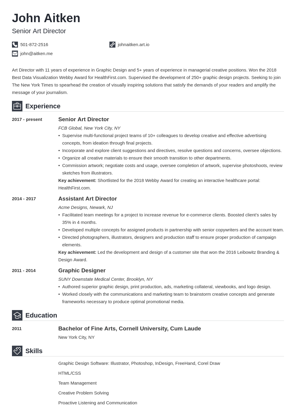art director resume template iconic