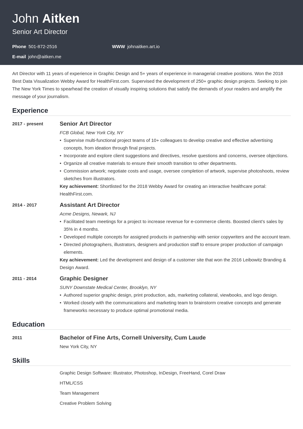 art director resume template influx