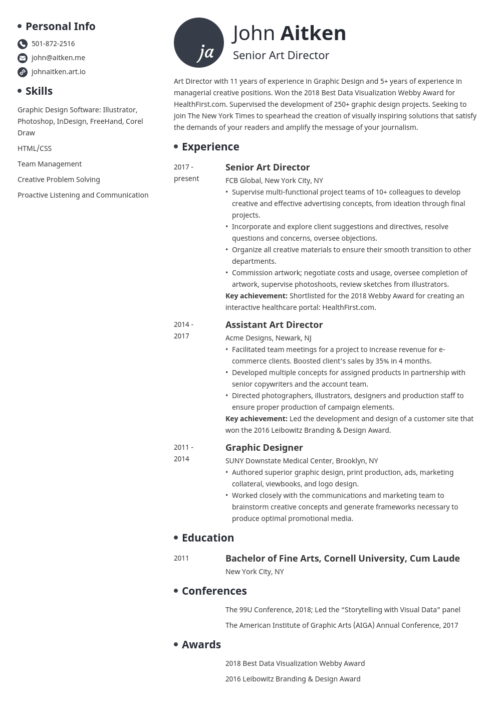 art director resume template initials