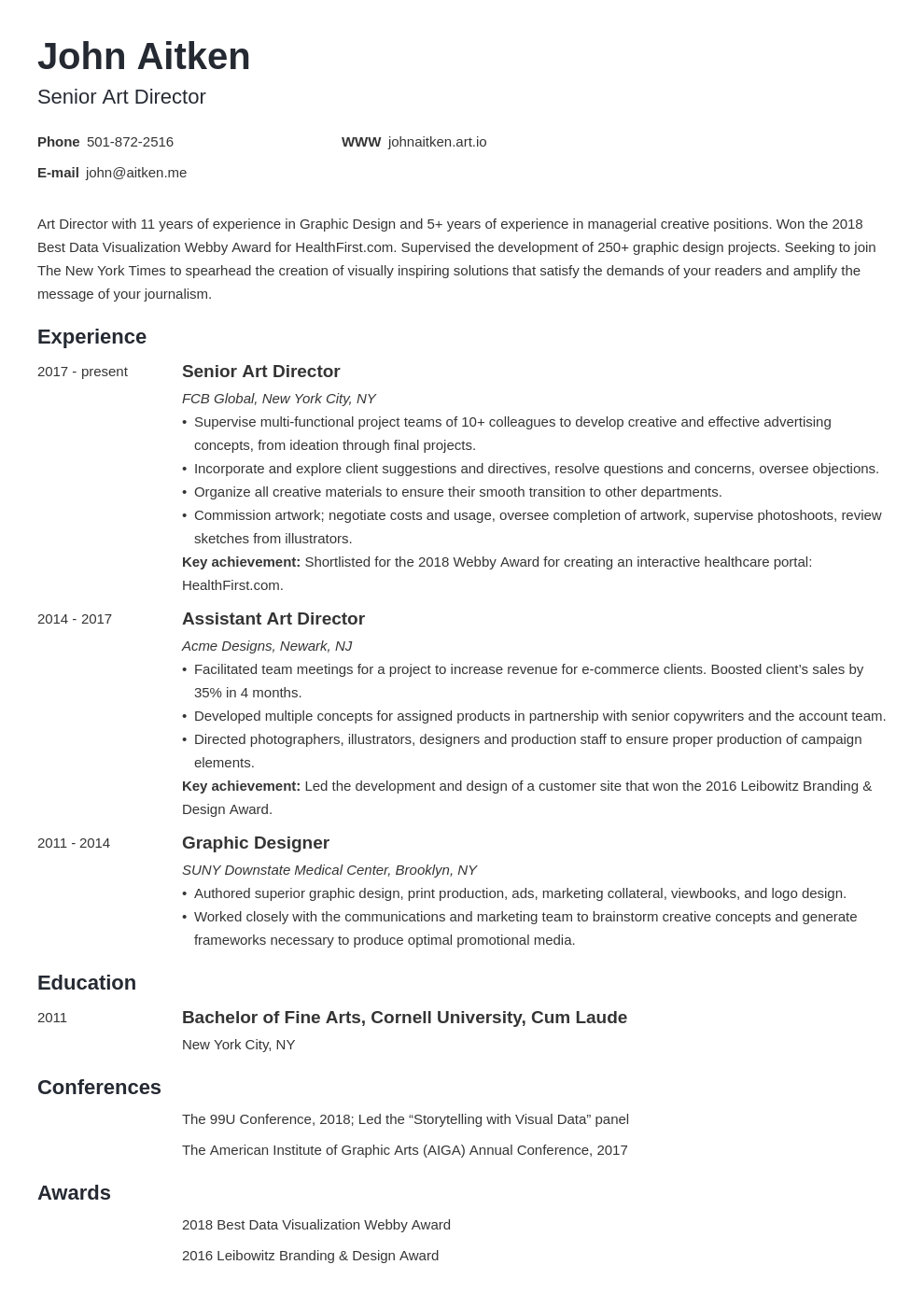 art director resume template minimo