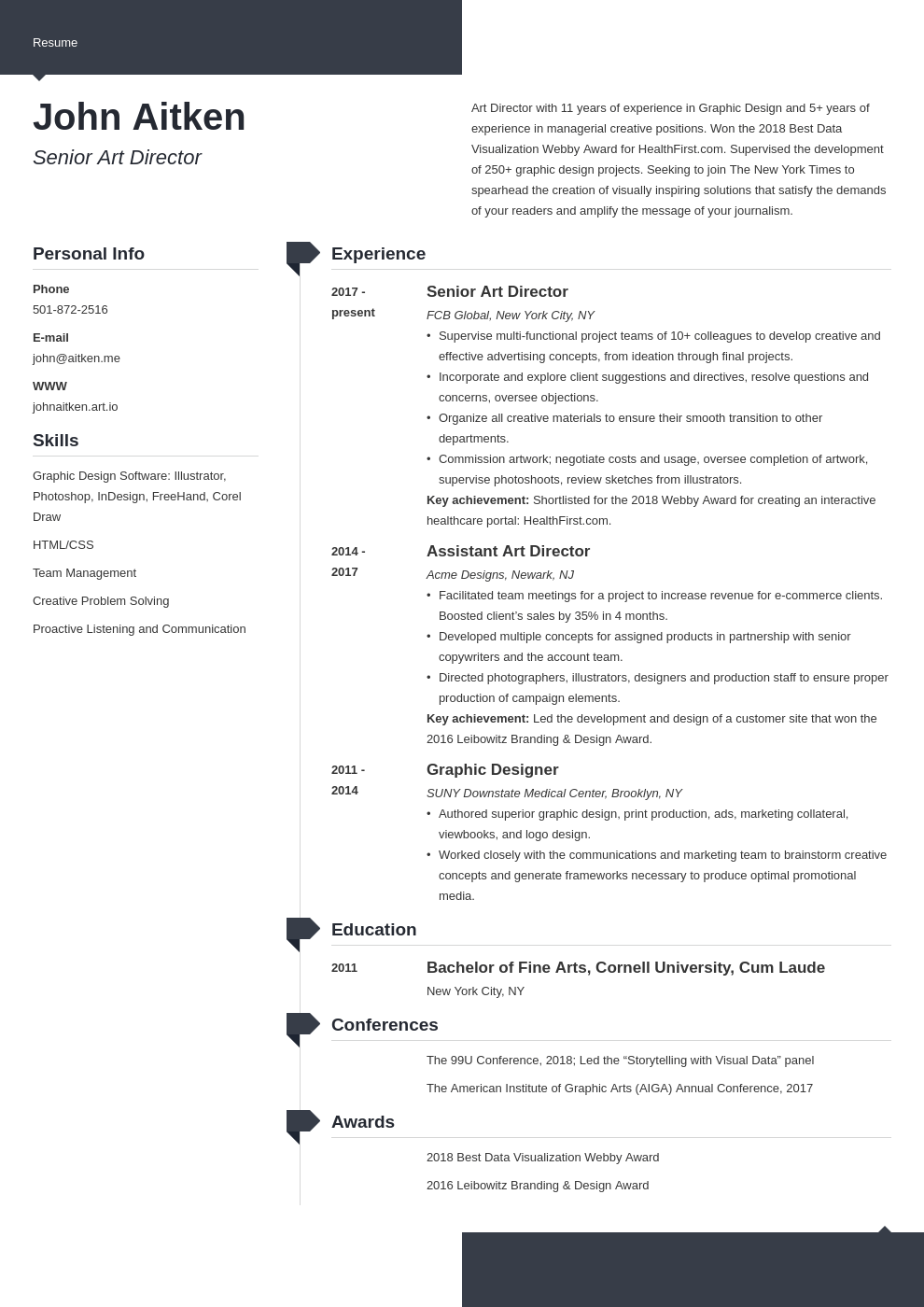 art director resume template modern