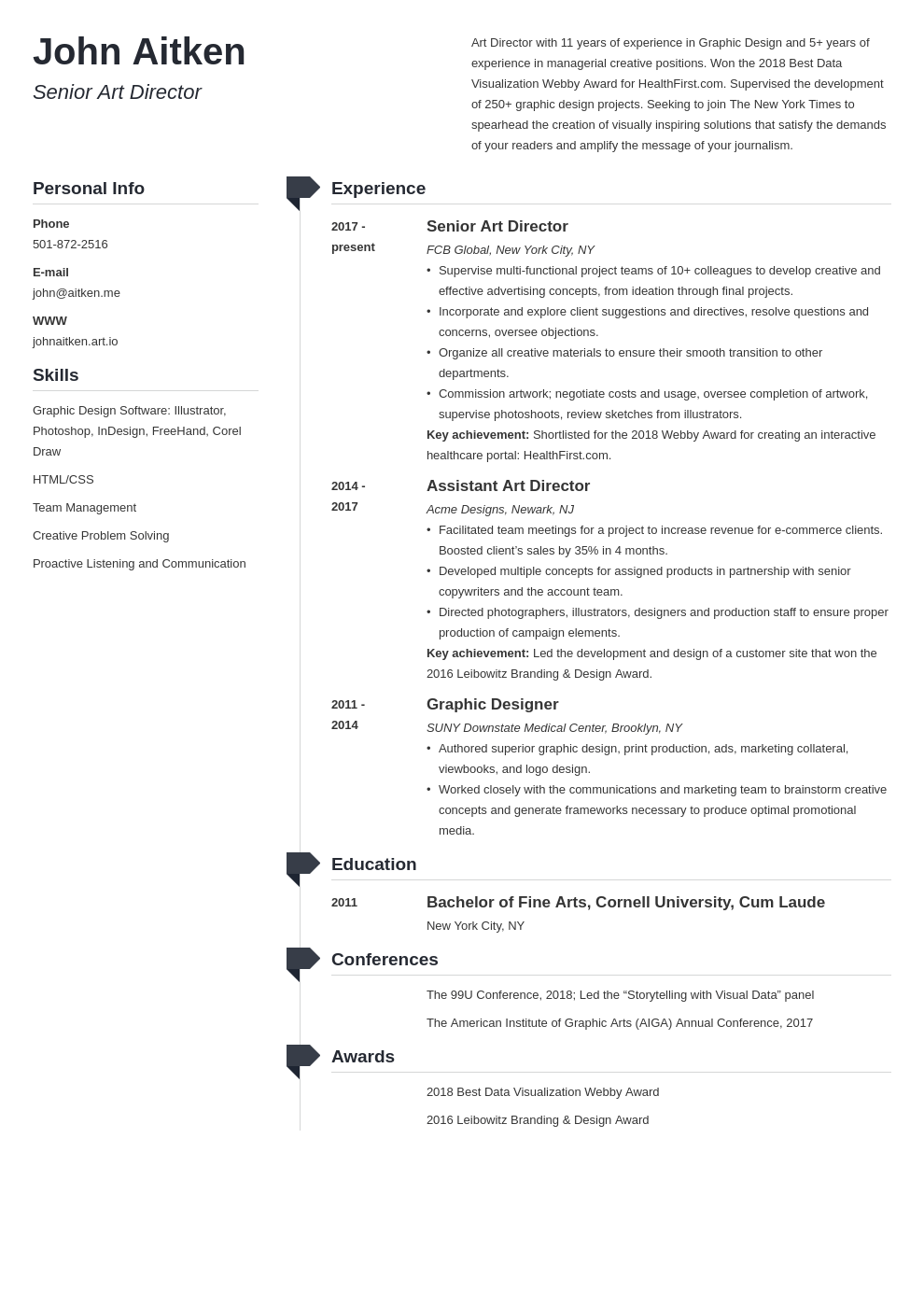 art director resume template muse