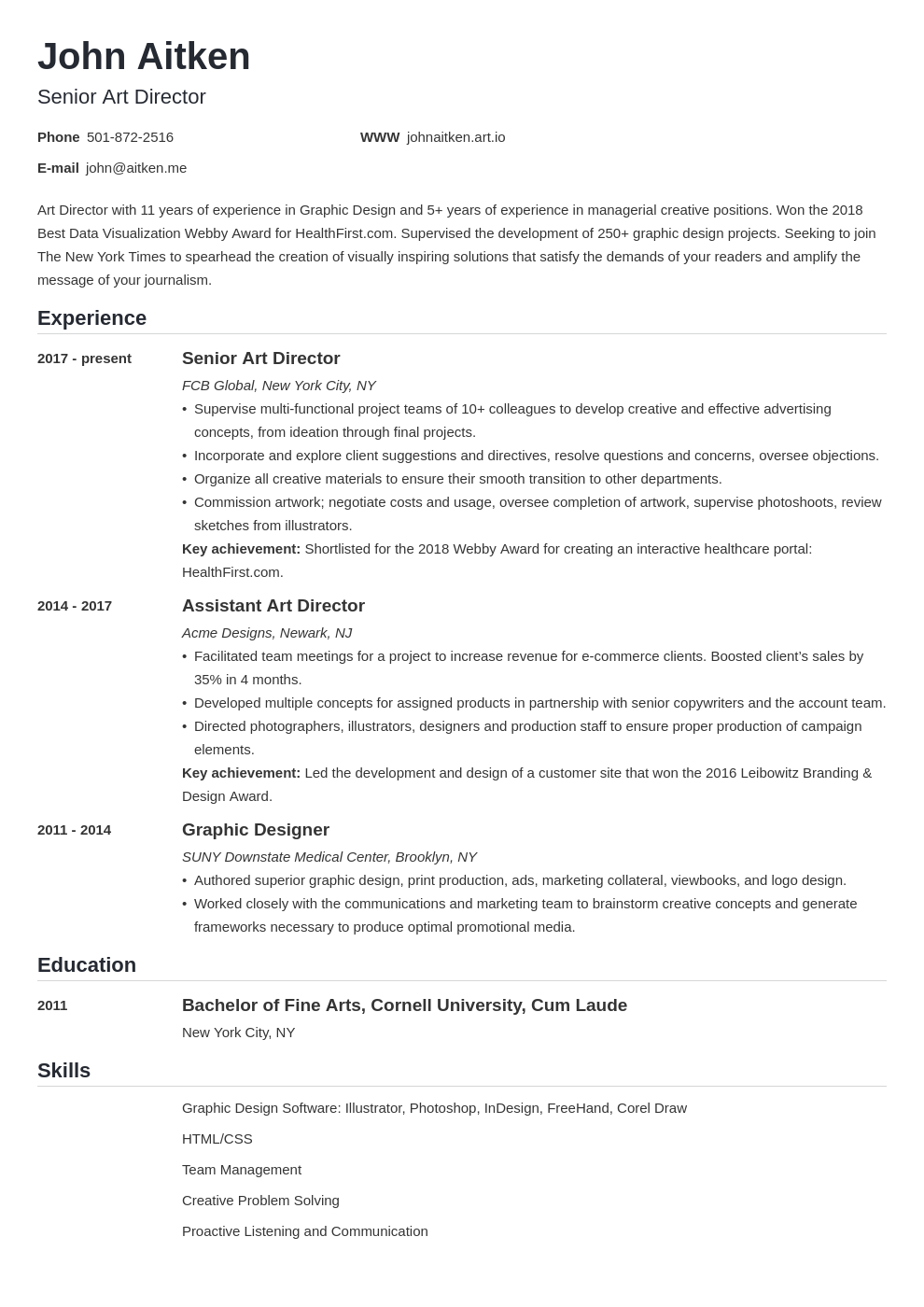 art director resume template nanica