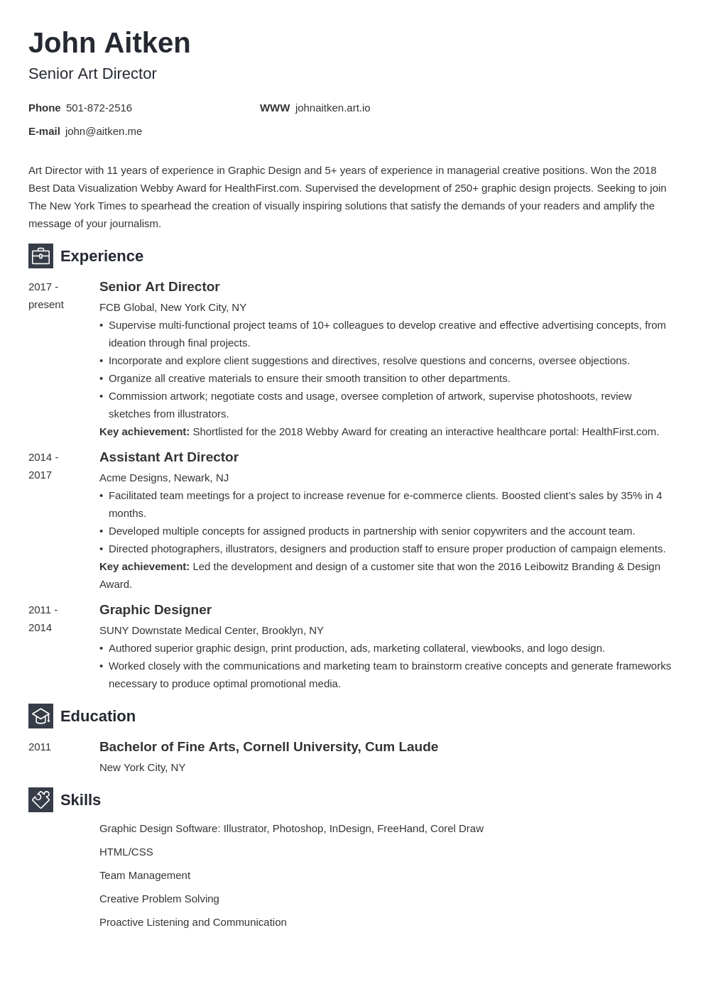 art director resume template newcast