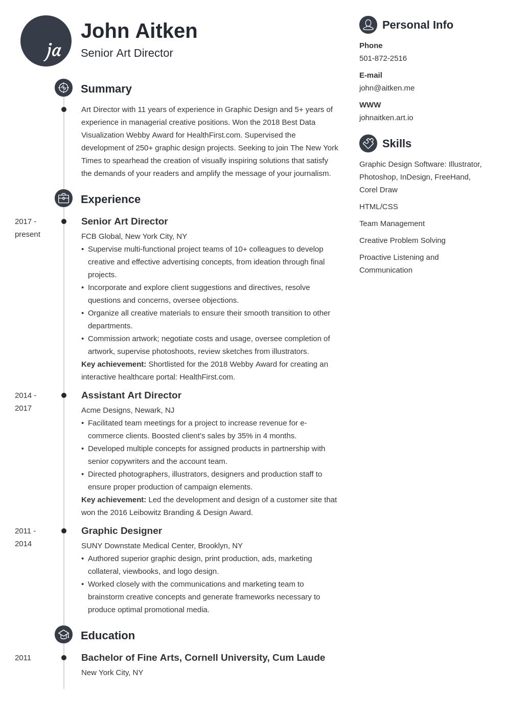 art director resume template primo
