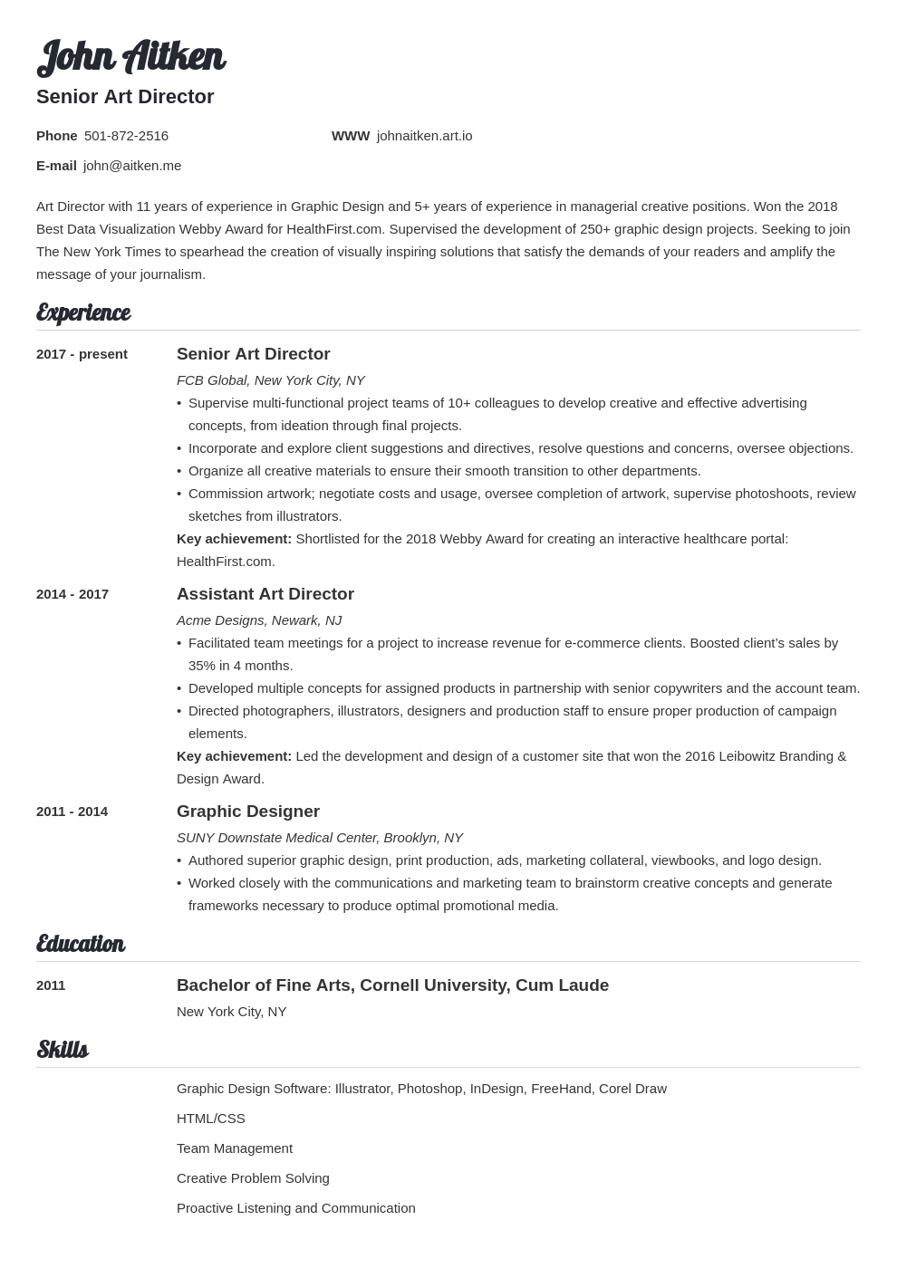 art director resume template valera