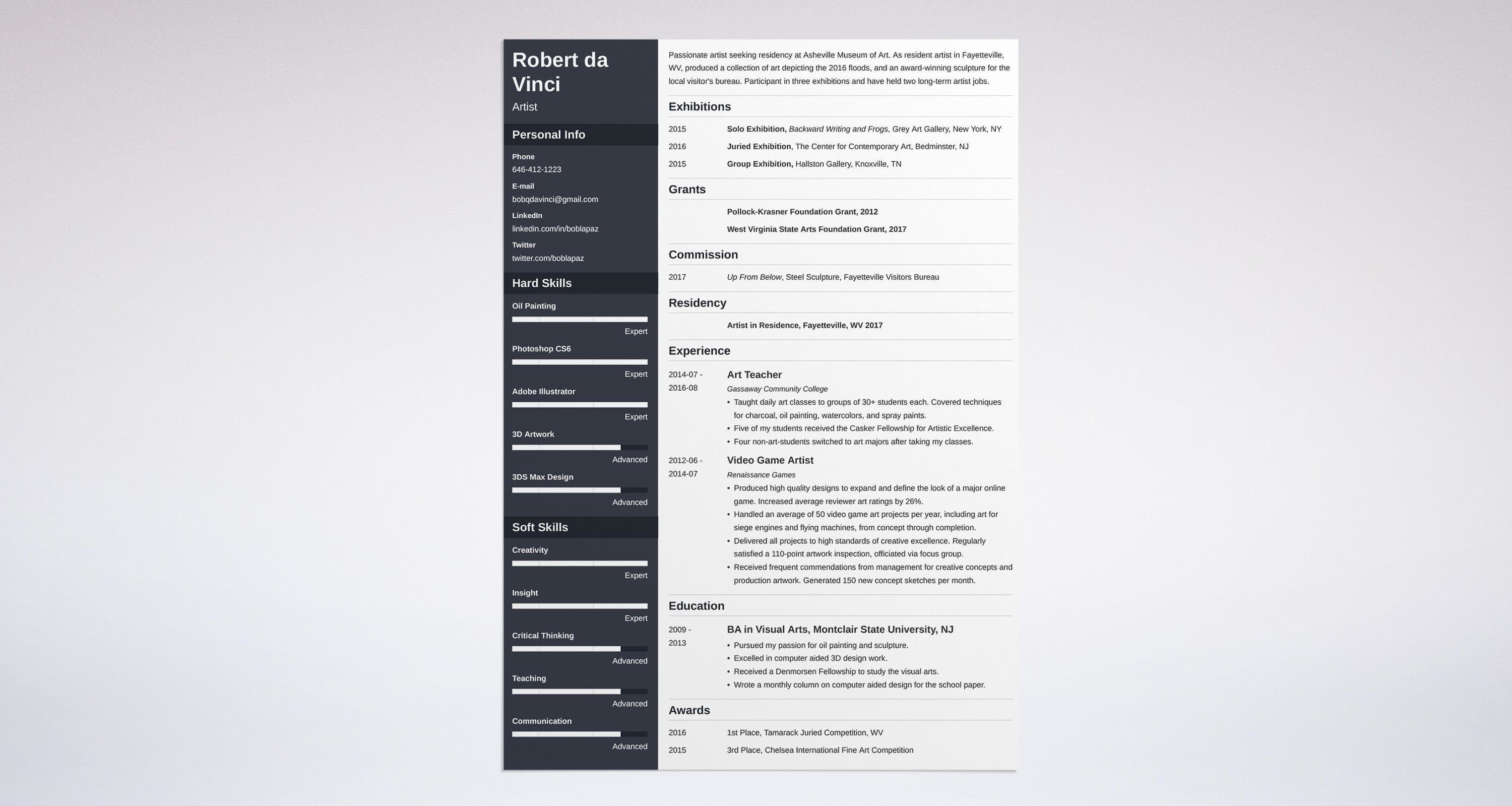 High Quality Uptowork  Artist Resume Templates