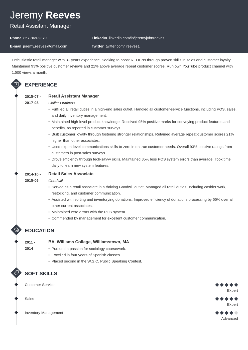 assistant manager resume example template diamond