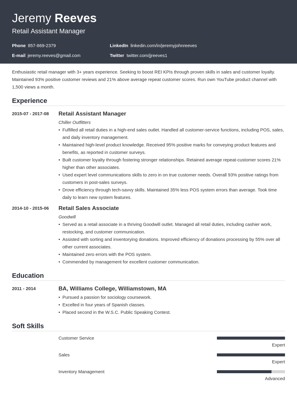 assistant manager resume example template influx
