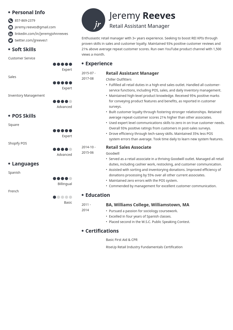 assistant manager resume example template initials