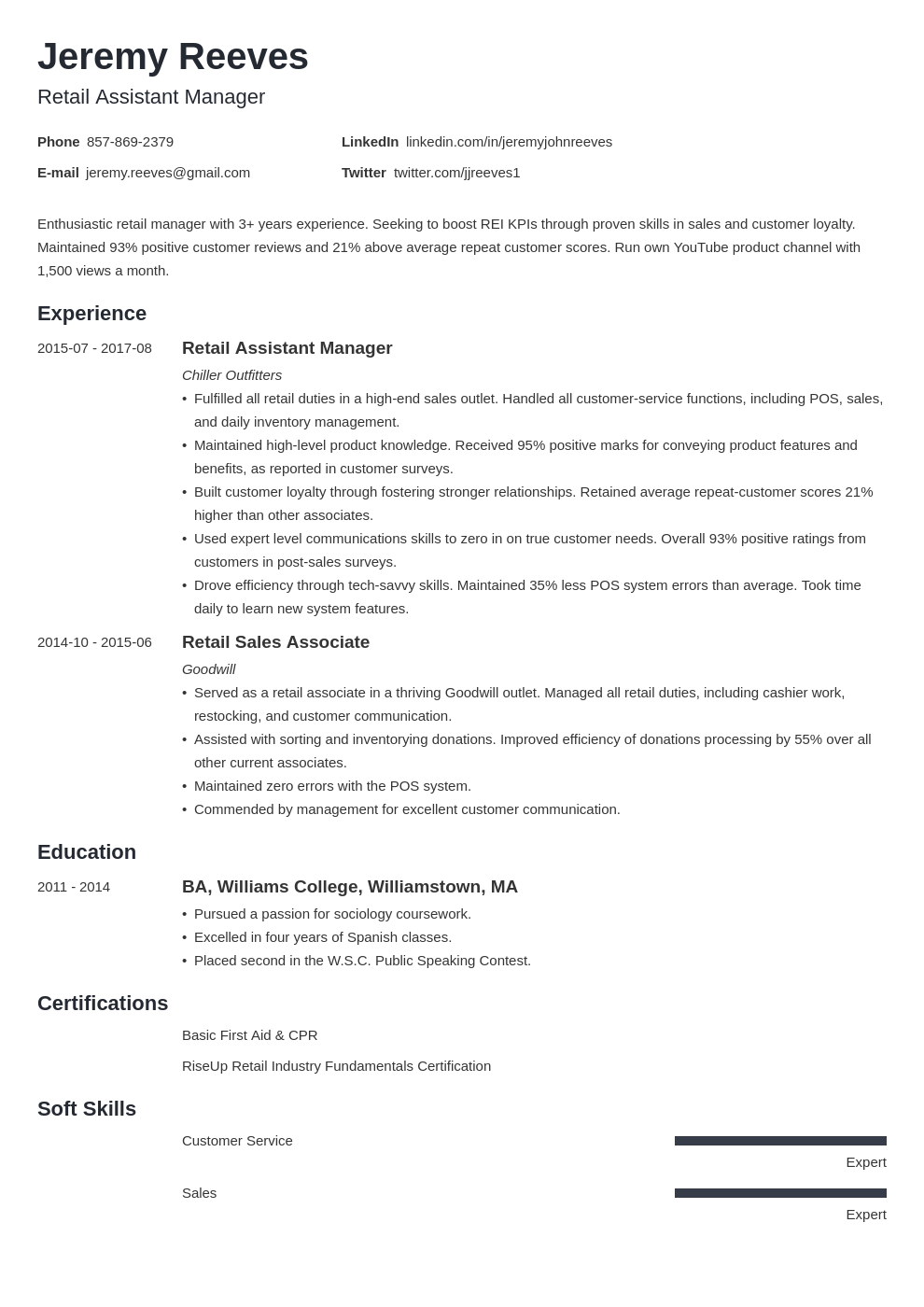 assistant manager resume example template minimo