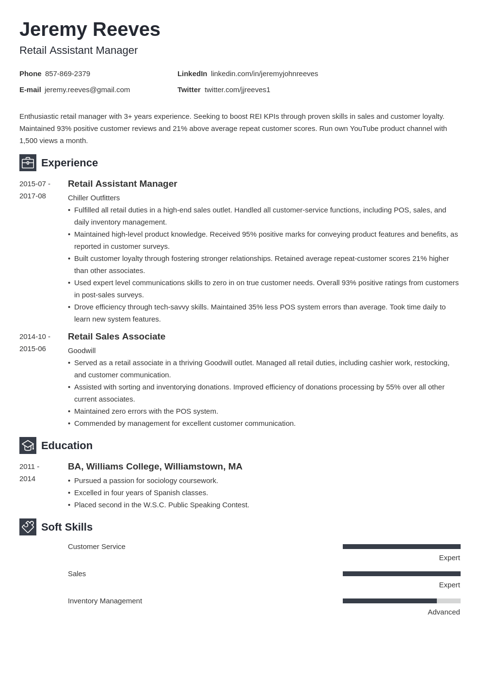 assistant manager resume example template newcast