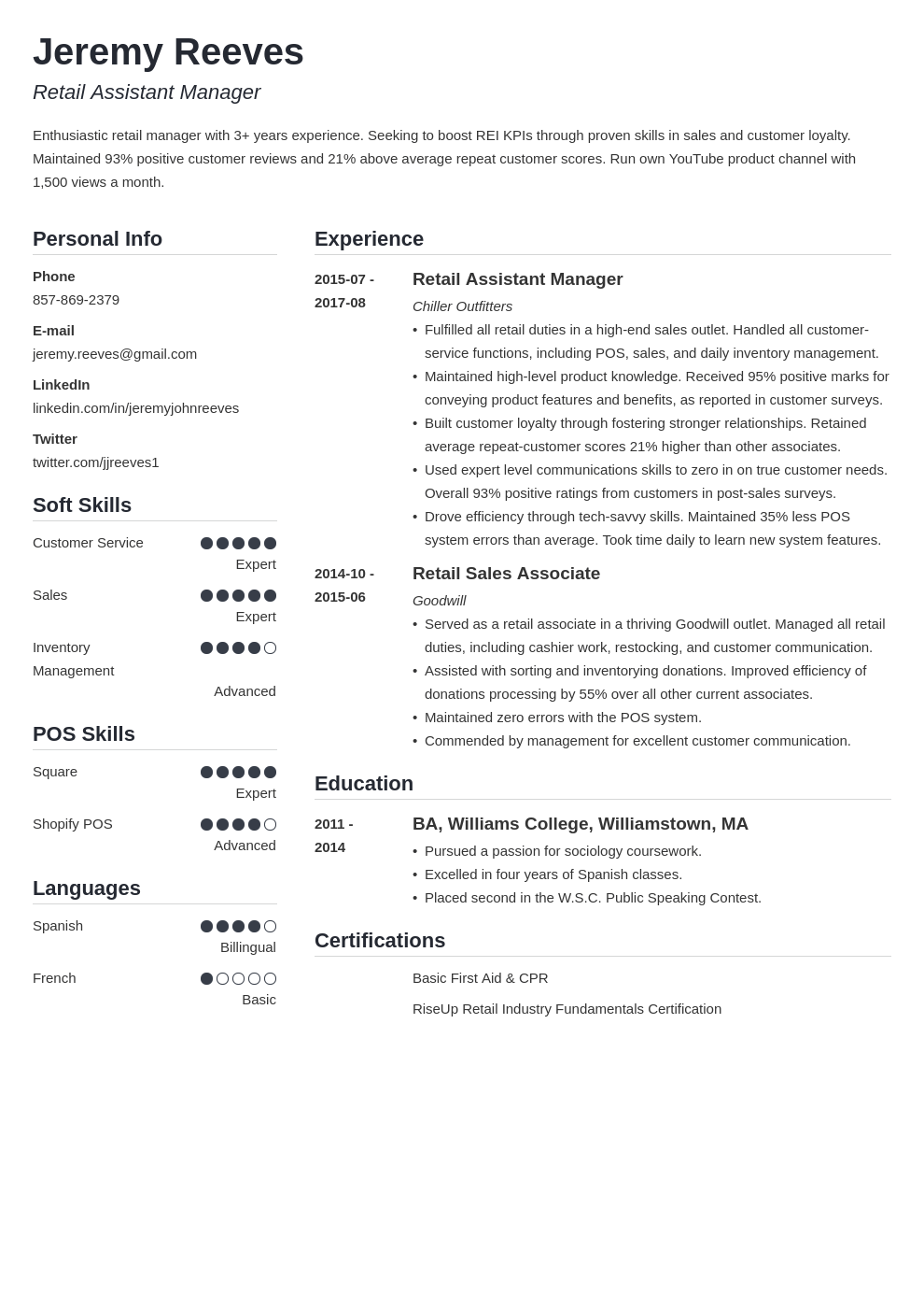 assistant manager resume example template simple