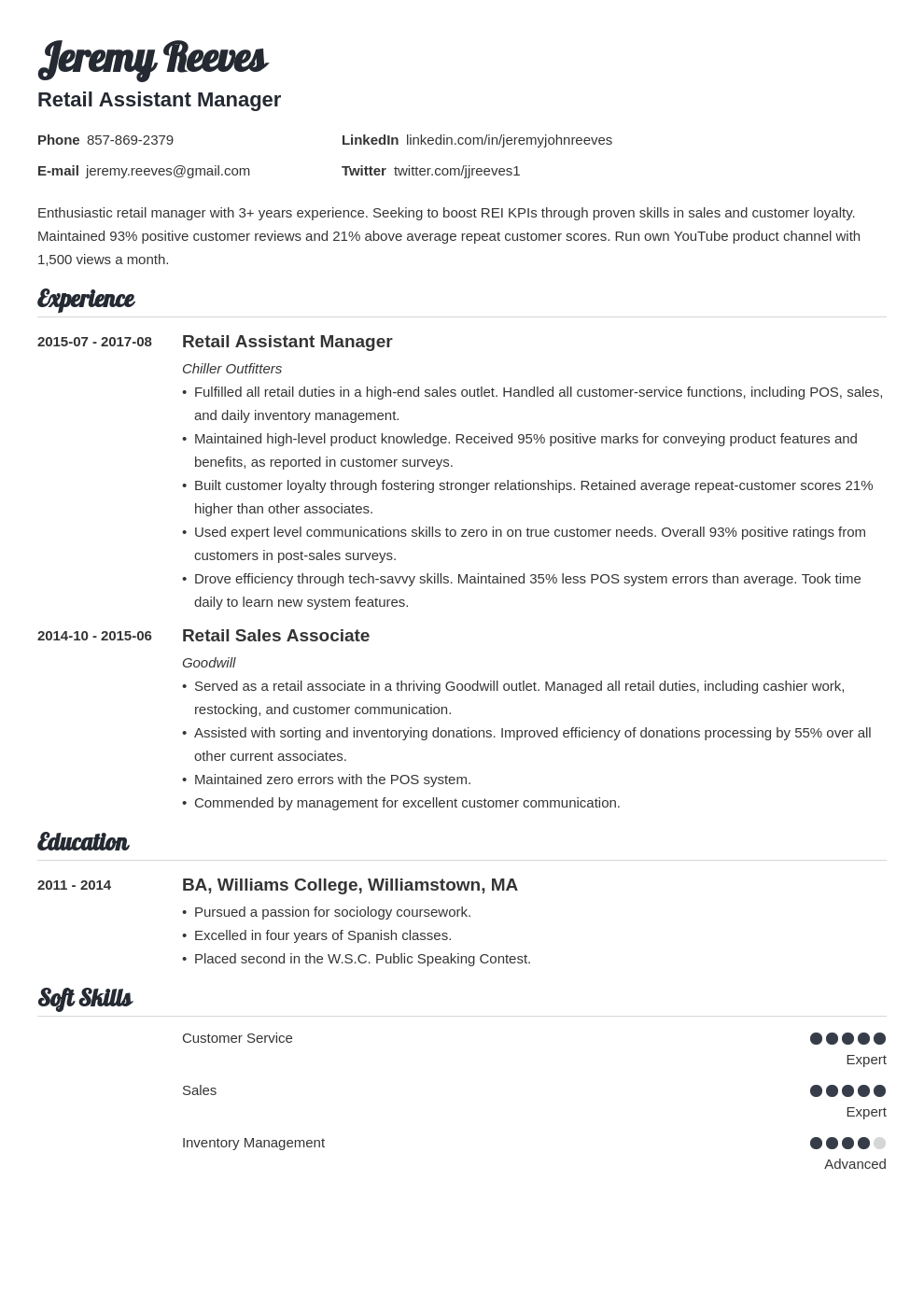 assistant manager resume example template valera