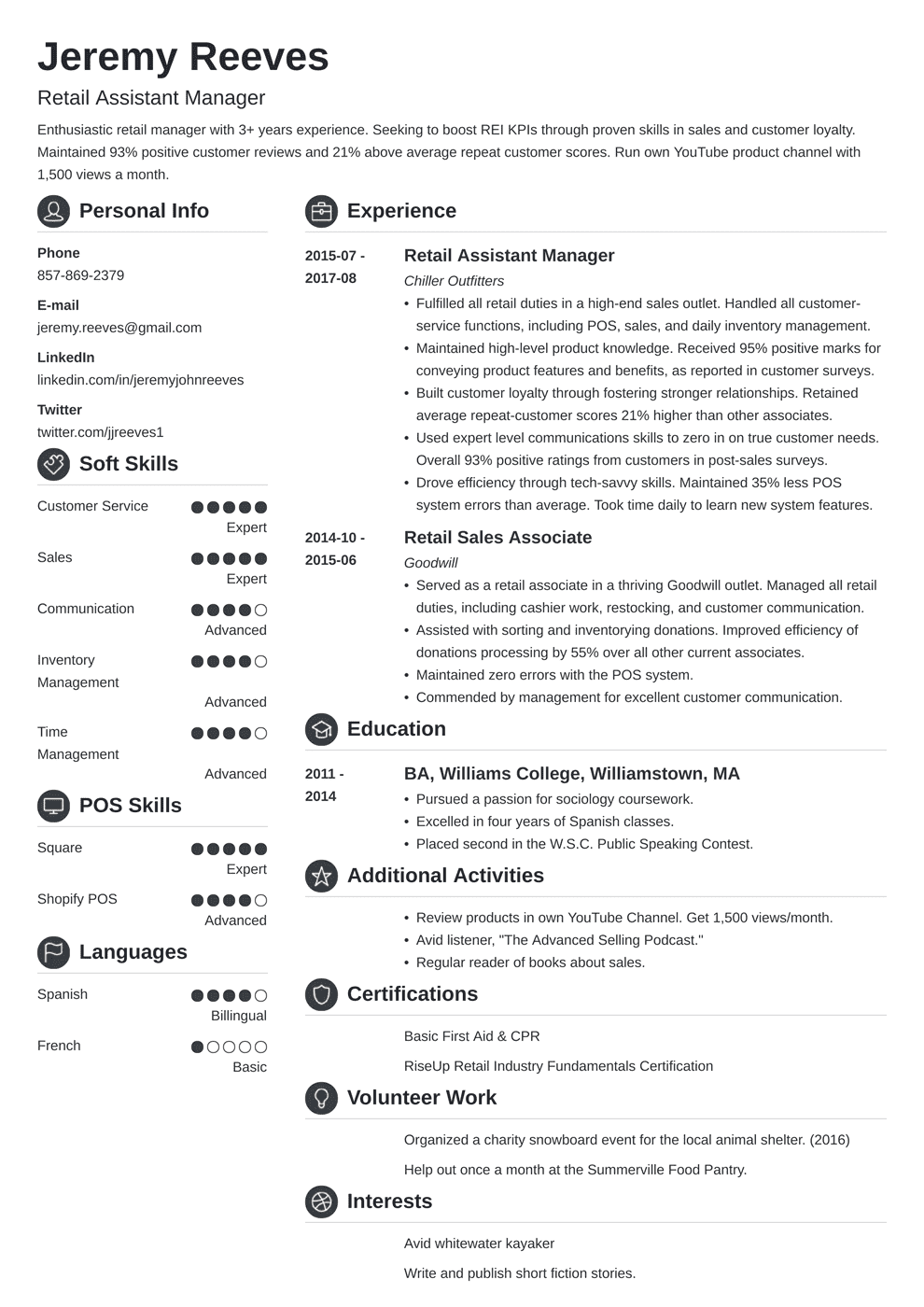 resume for customer service assistant