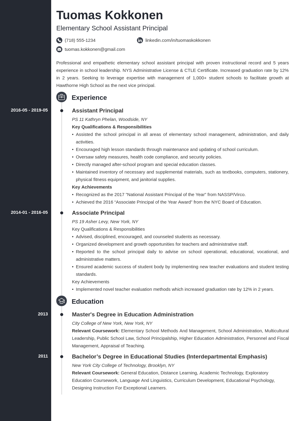 assistant principal resume example template concept
