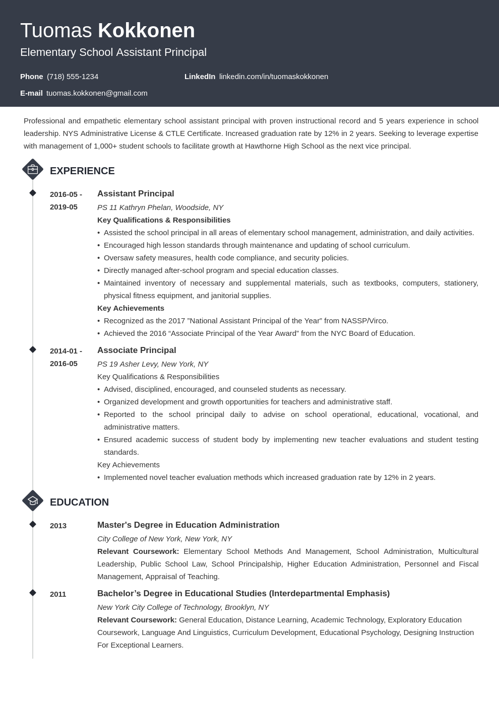 assistant principal resume example template diamond