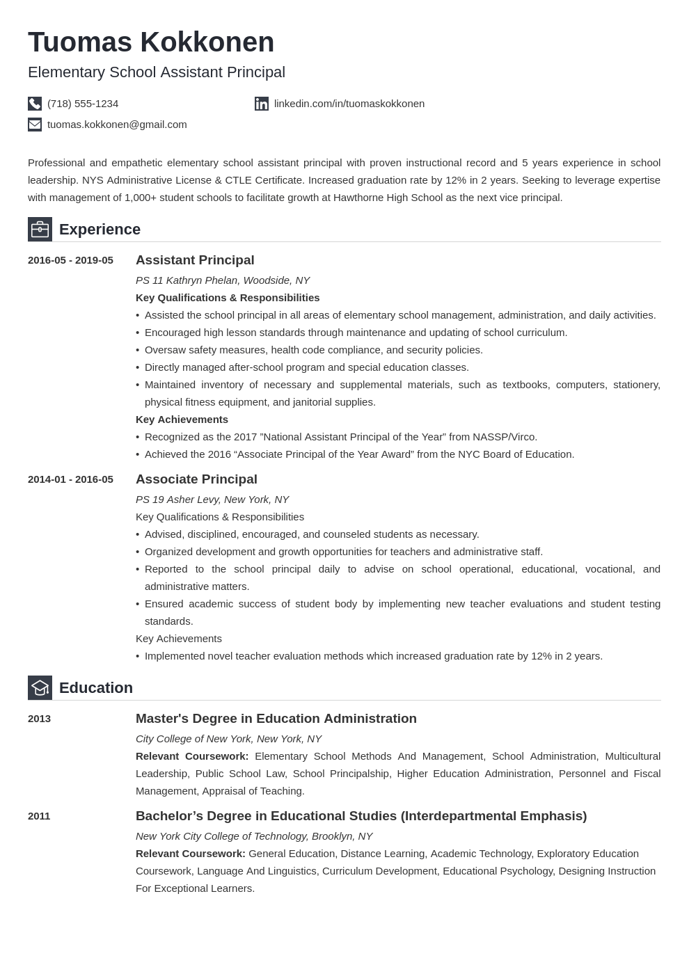 assistant principal resume example template iconic