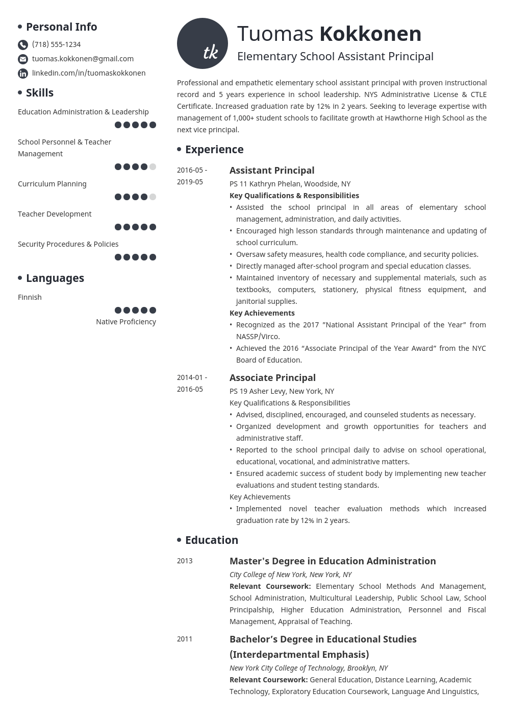 assistant principal resume example template initials