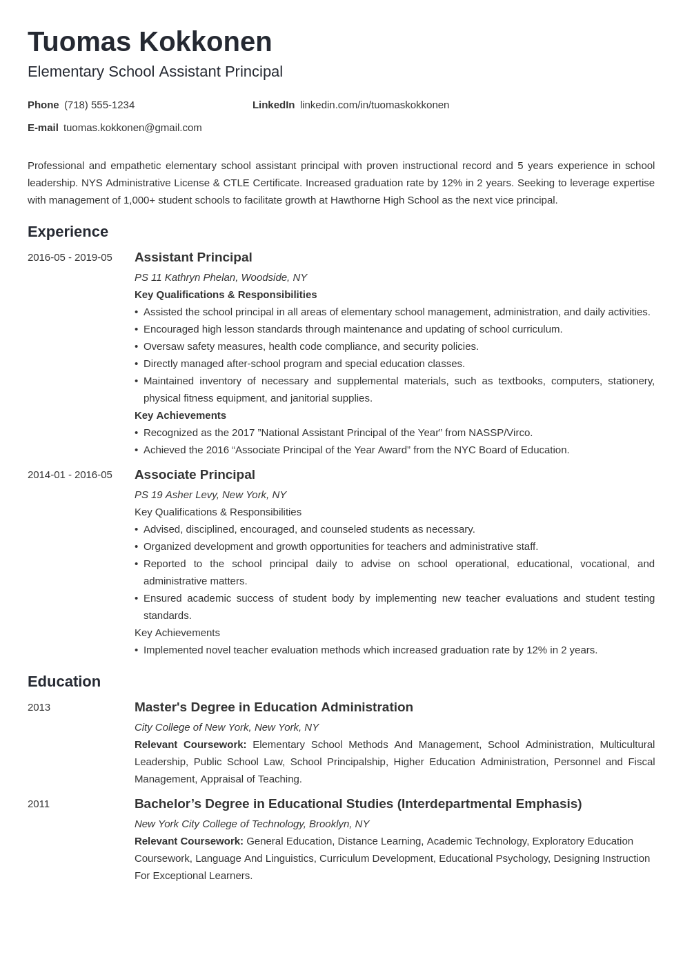 assistant principal resume example template minimo