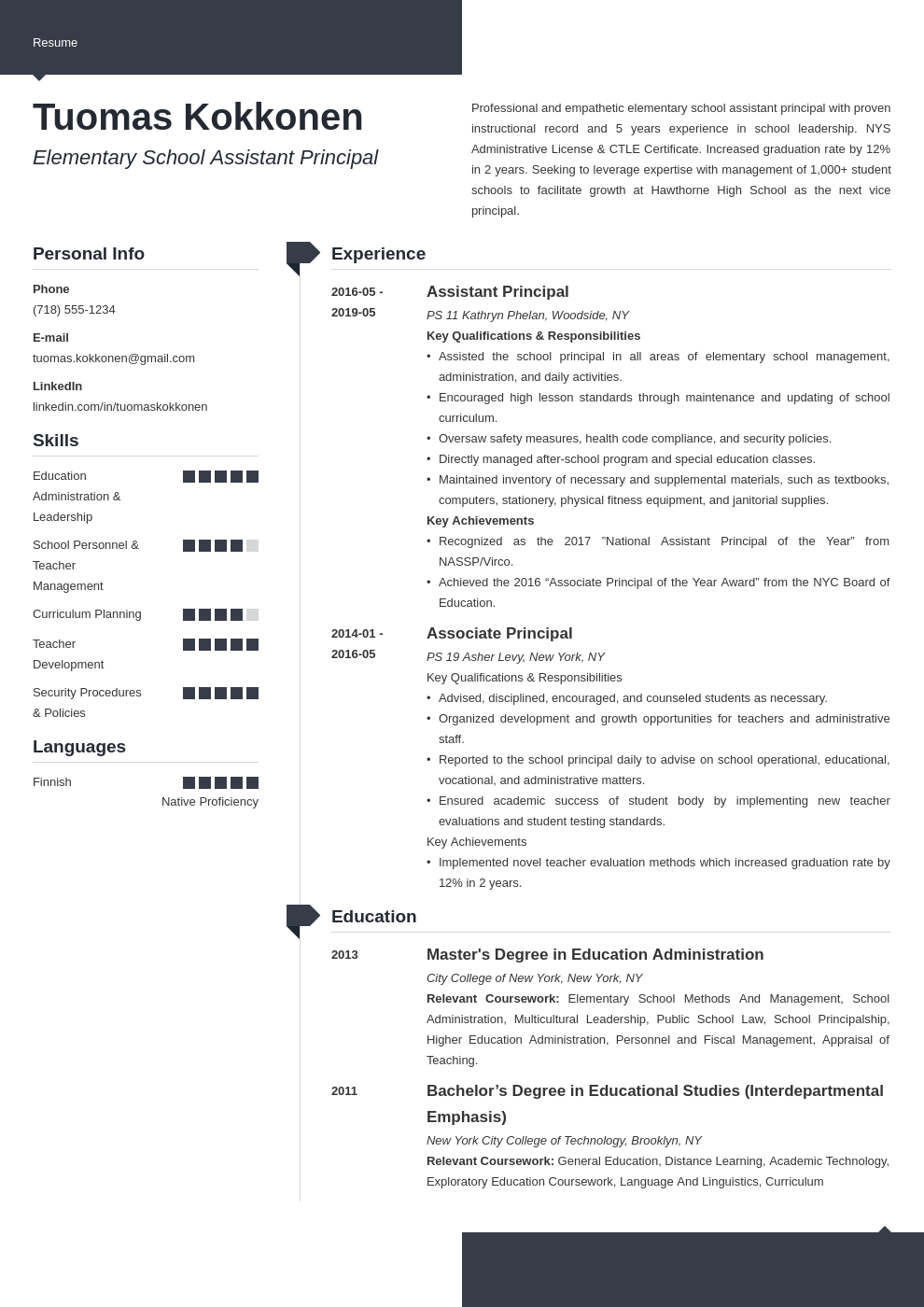 assistant principal resume example template modern