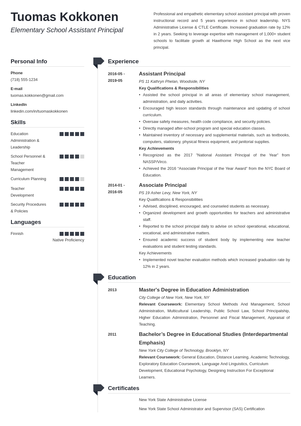 assistant principal resume example template muse