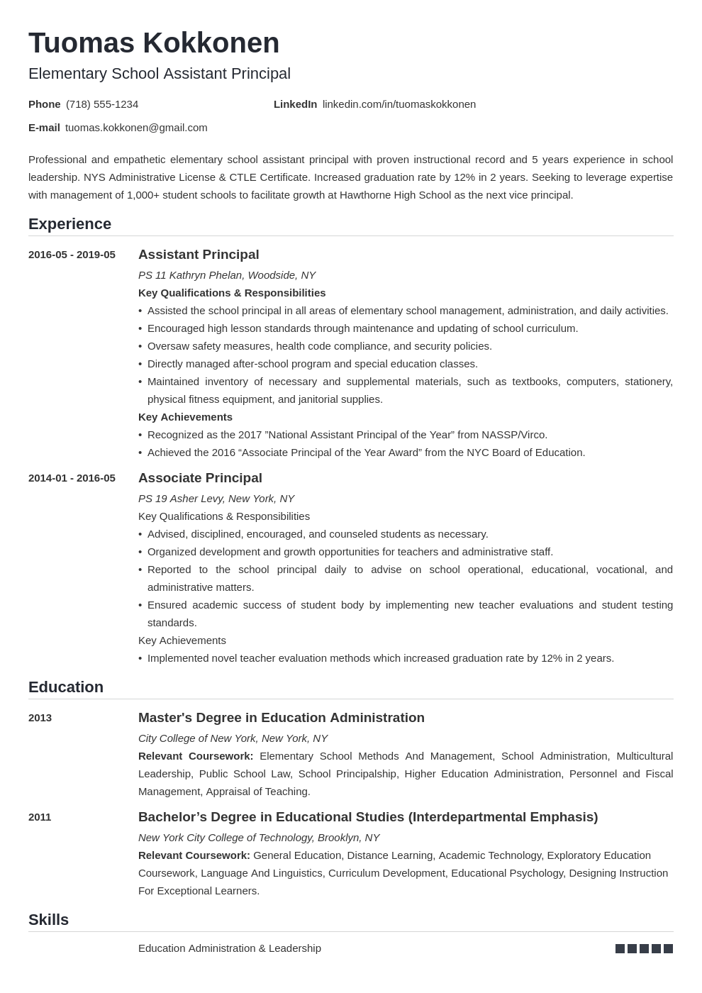 assistant principal resume example template nanica