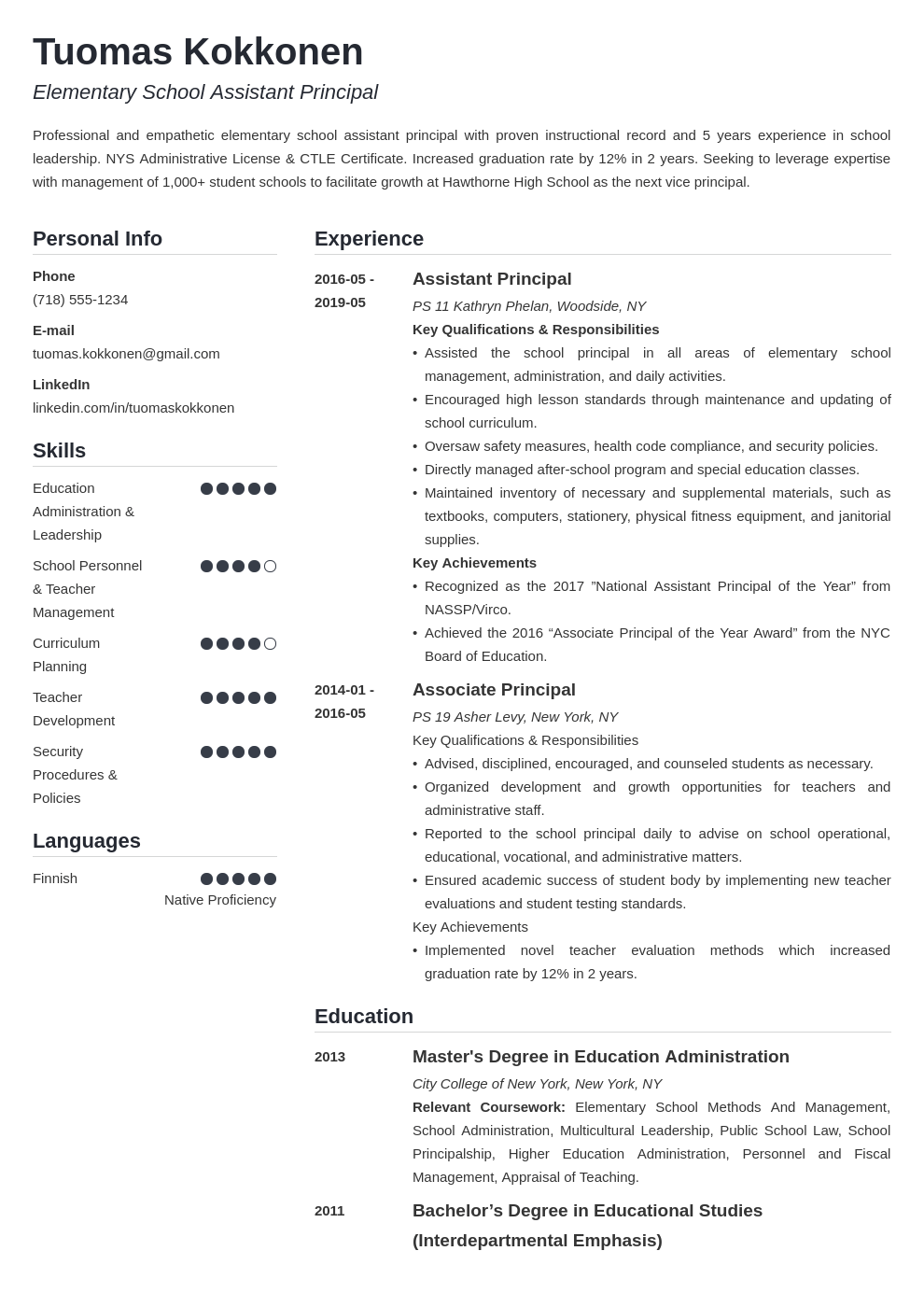 assistant principal resume example template simple