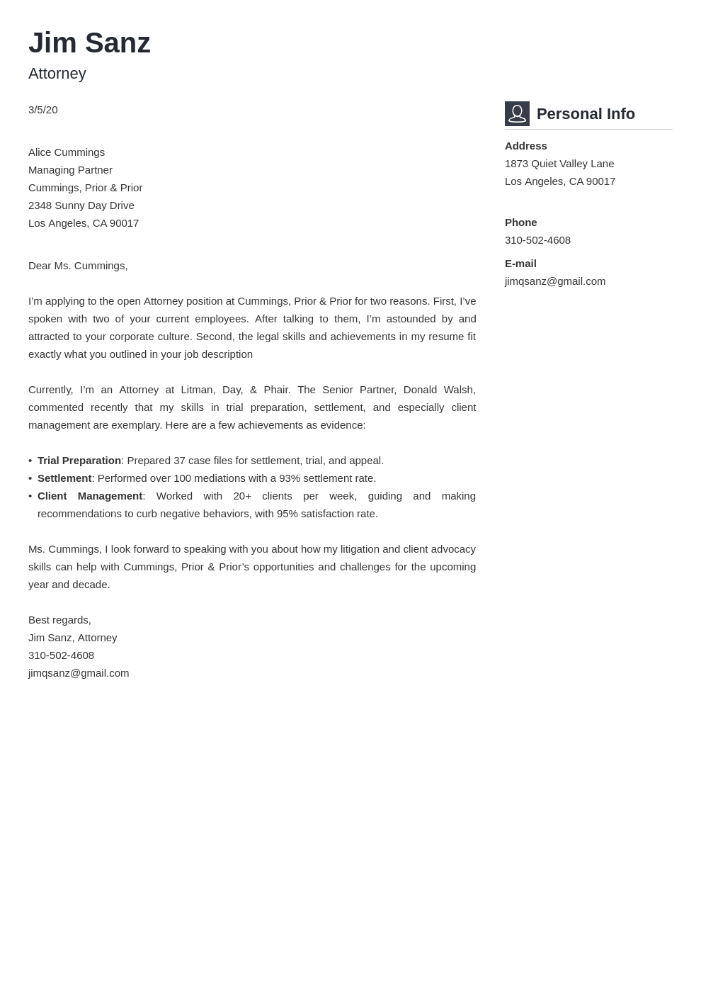 Attorney Cover Letter Samples Writing Guide