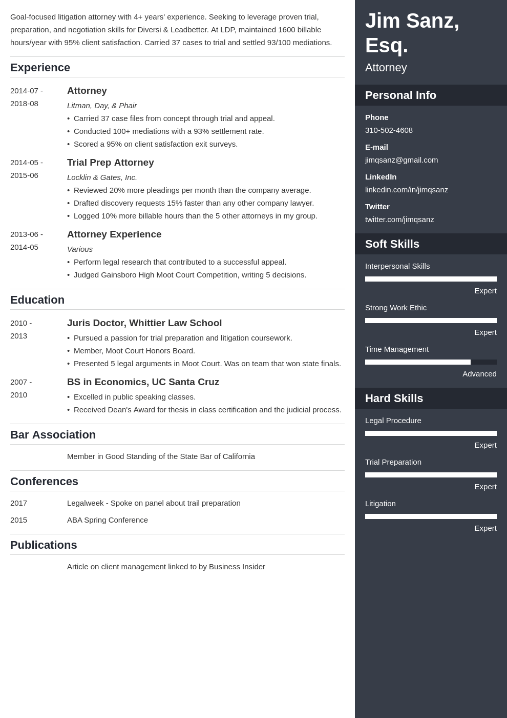 attorney resume example template enfold