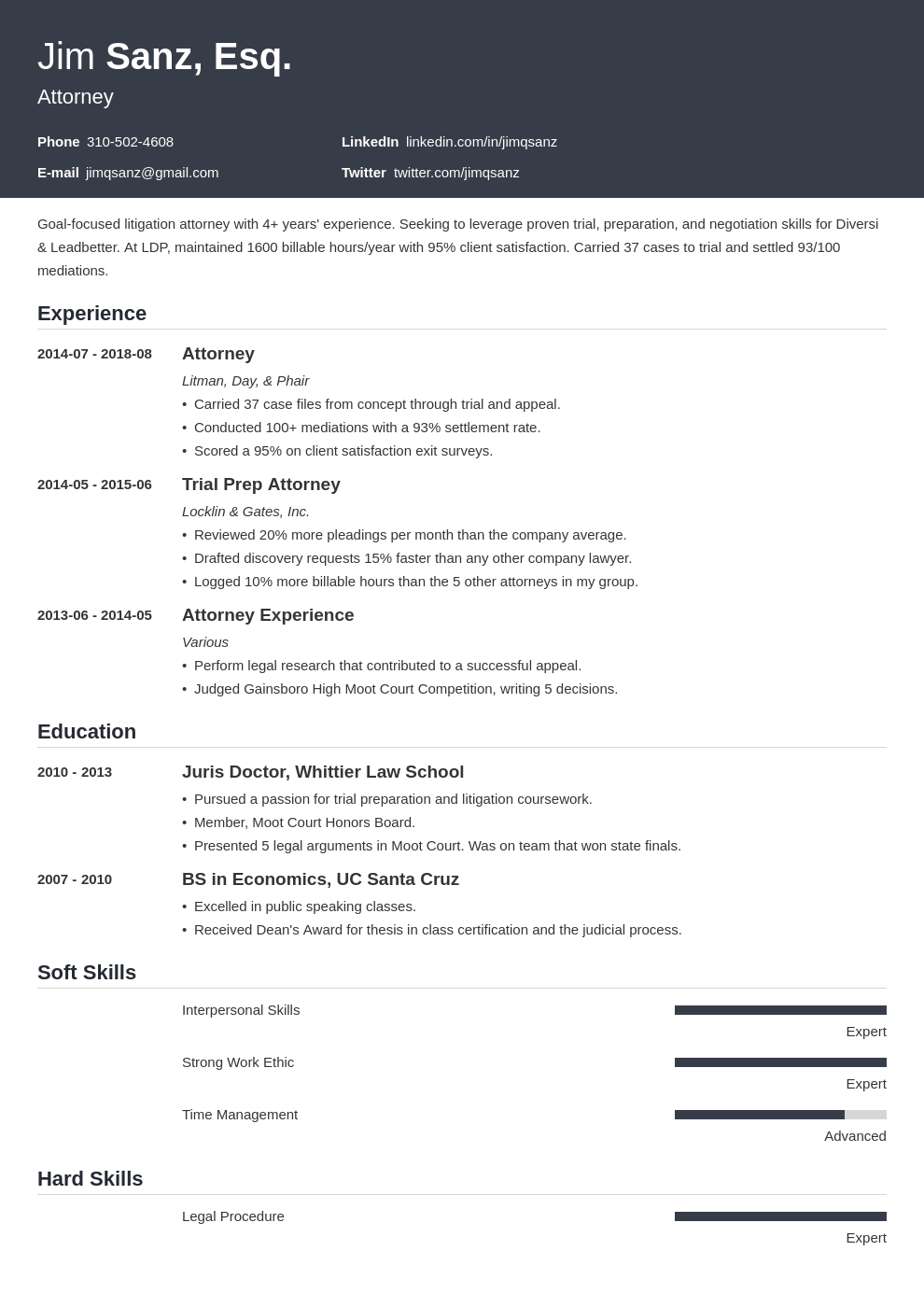 attorney resume example template influx