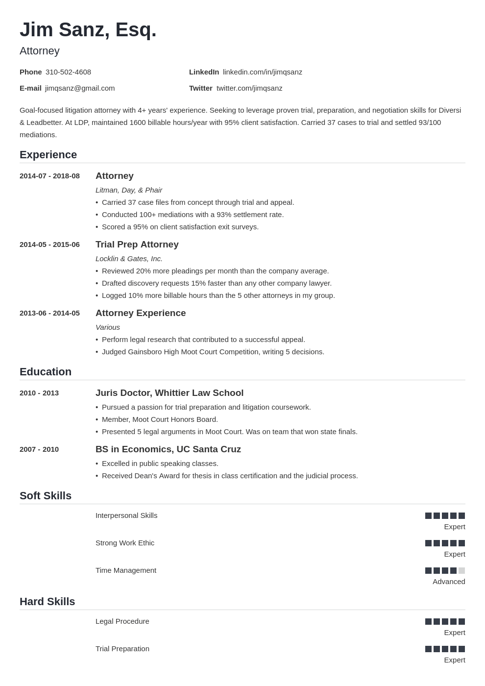 attorney resume example template nanica