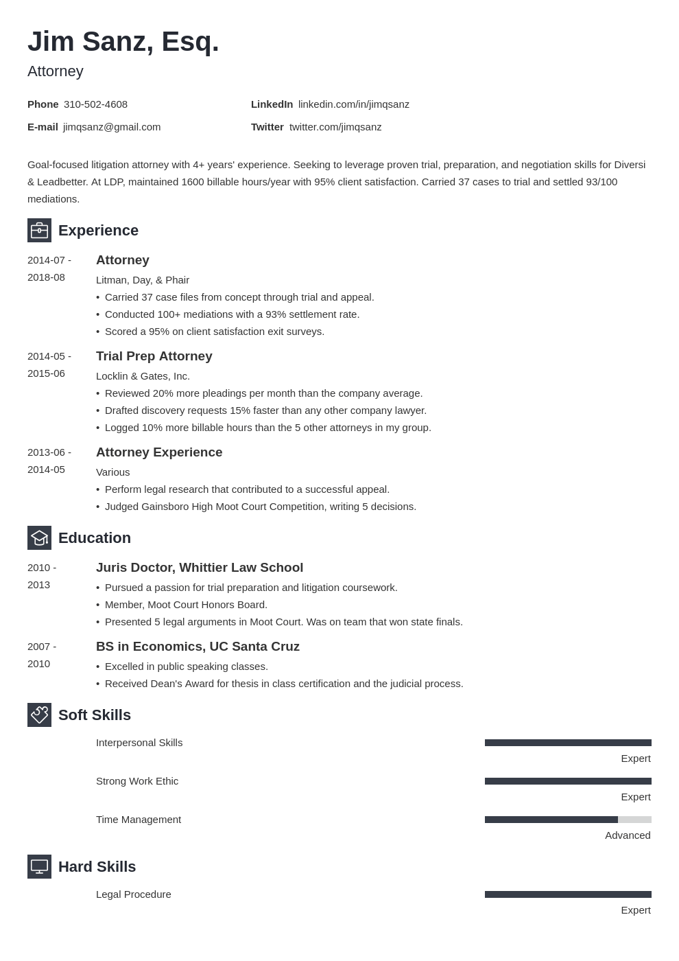 attorney resume example template newcast