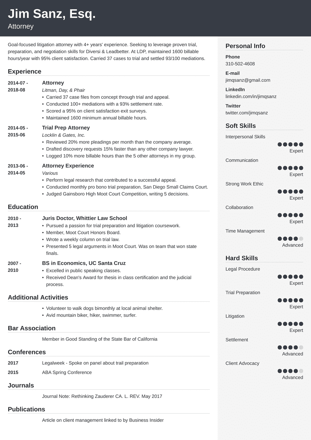 attorney resume  lawyer resume samples  guide