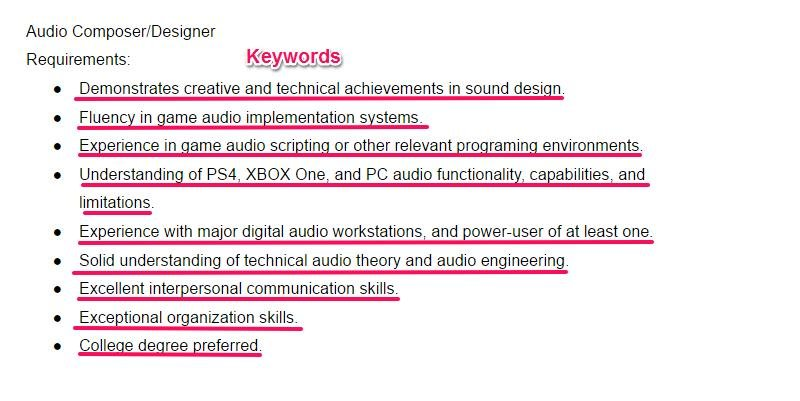 audio composer designer job offer keywords