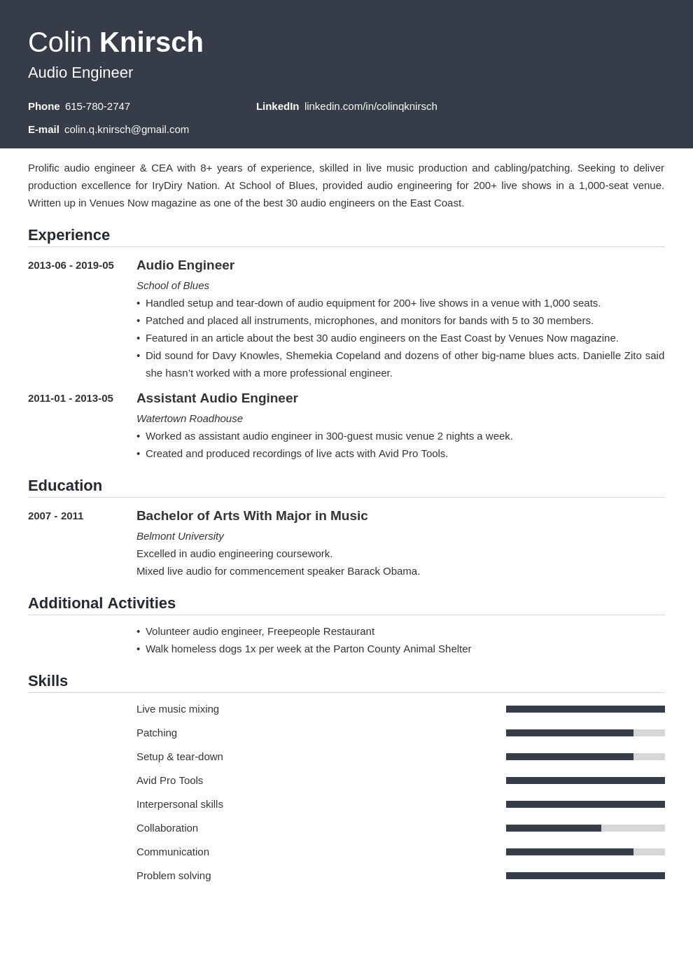 audio engineer resume example template influx