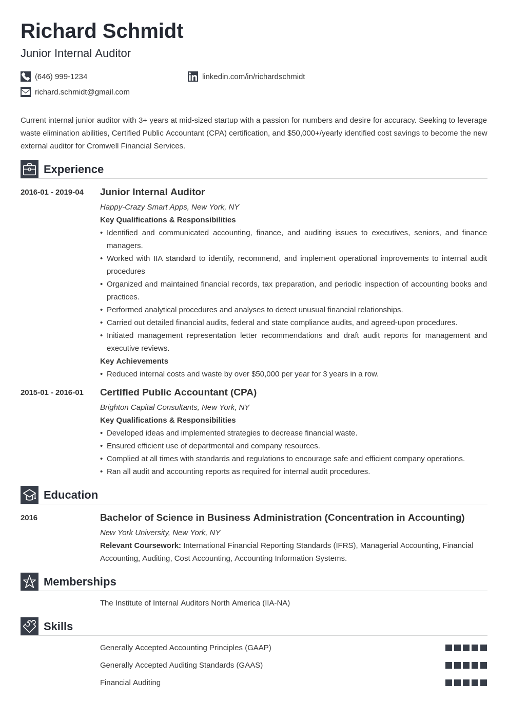 auditor resume example template iconic
