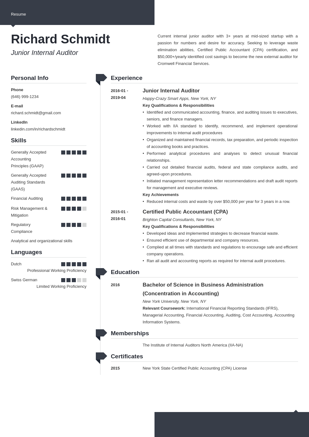 auditor resume example template modern