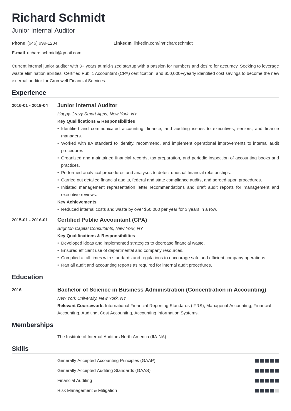 auditor resume example template nanica
