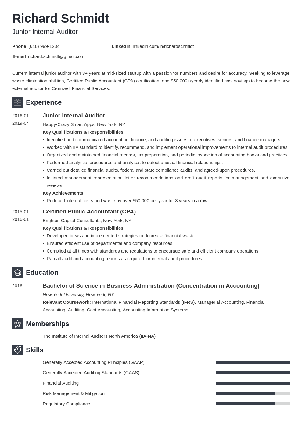 auditor resume example template newcast